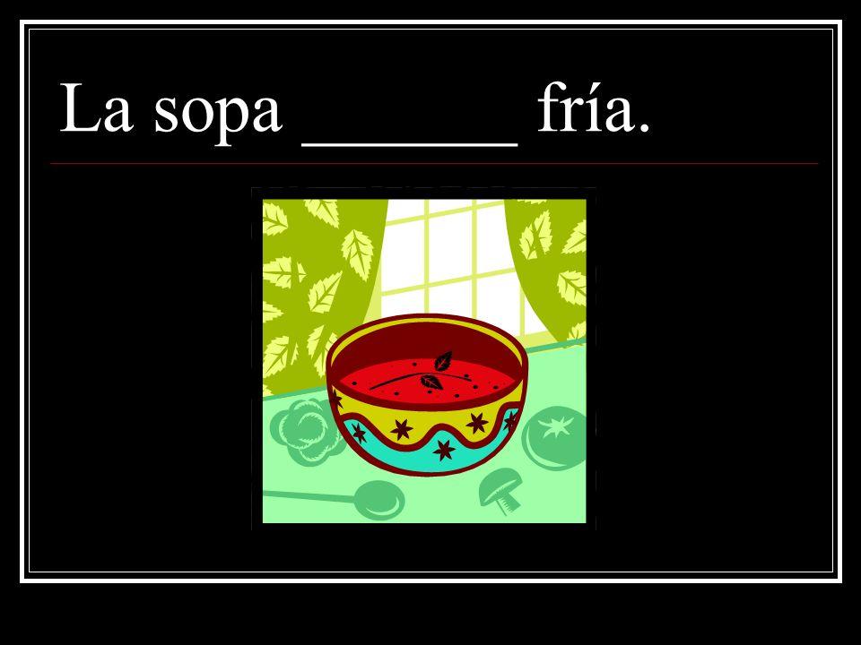 La sopa está fría. ¿Porqué? Because THIS soup is cold, and soup is generally hot.
