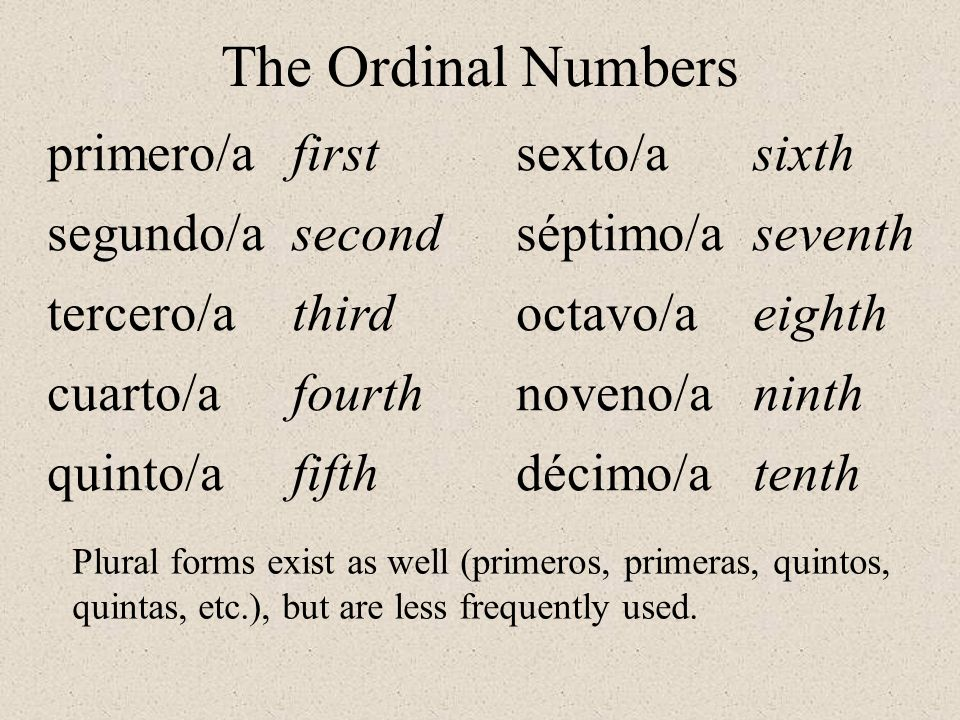 primero/a segundo/a tercero/a cuarto/a quinto/a first second third fourth fifth sexto/a séptimo/a octavo/a noveno/a décimo/a sixth seventh eighth ninth tenth The Ordinal Numbers Plural forms exist as well (primeros, primeras, quintos, quintas, etc.), but are less frequently used.