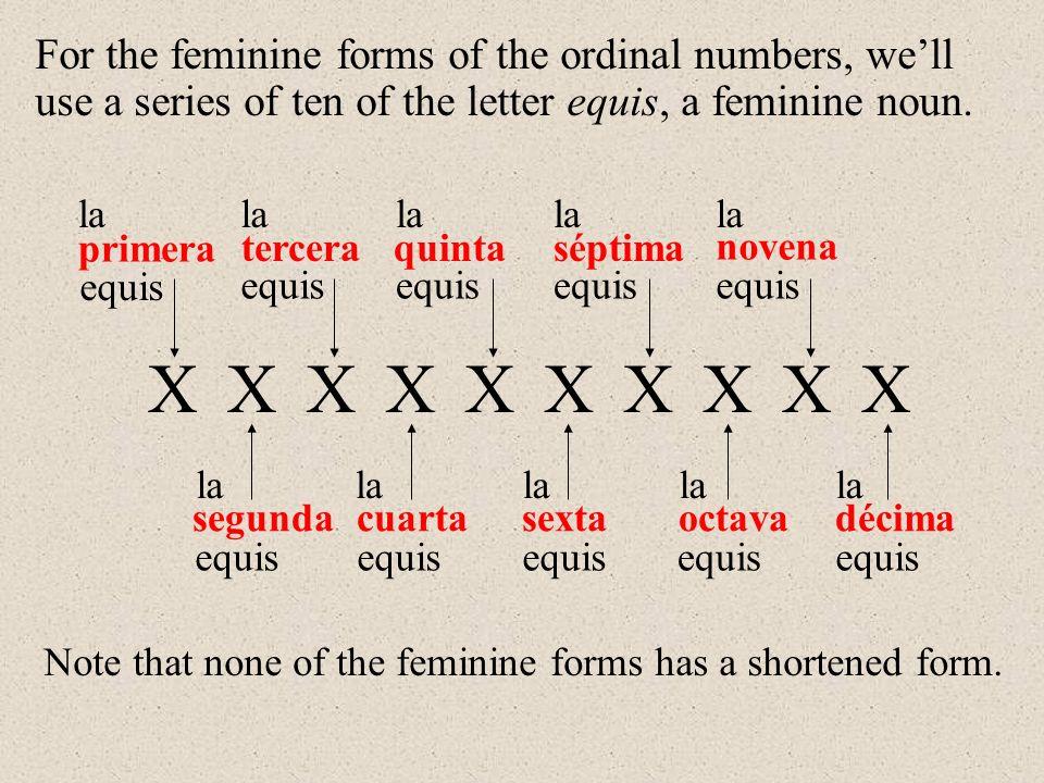 primera segunda tercera cuarta quinta sexta séptima octava novena décima la Note that none of the feminine forms has a shortened form.