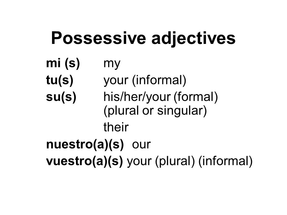 Possessive adjectives mi (s)my tu(s) your (informal) su(s)his/her/your (formal) (plural or singular) their nuestro(a)(s) our vuestro(a)(s) your (plura
