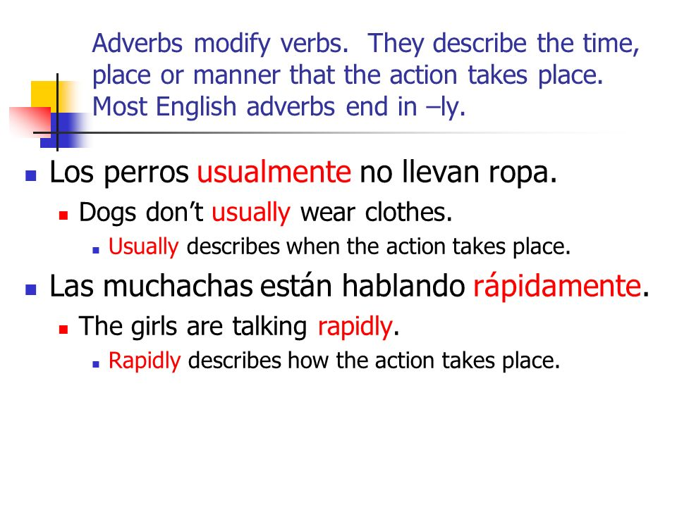 Adverbs modify verbs. They describe the time, place or manner that the action takes place. Most English adverbs end in –ly. Los perros usualmente no l