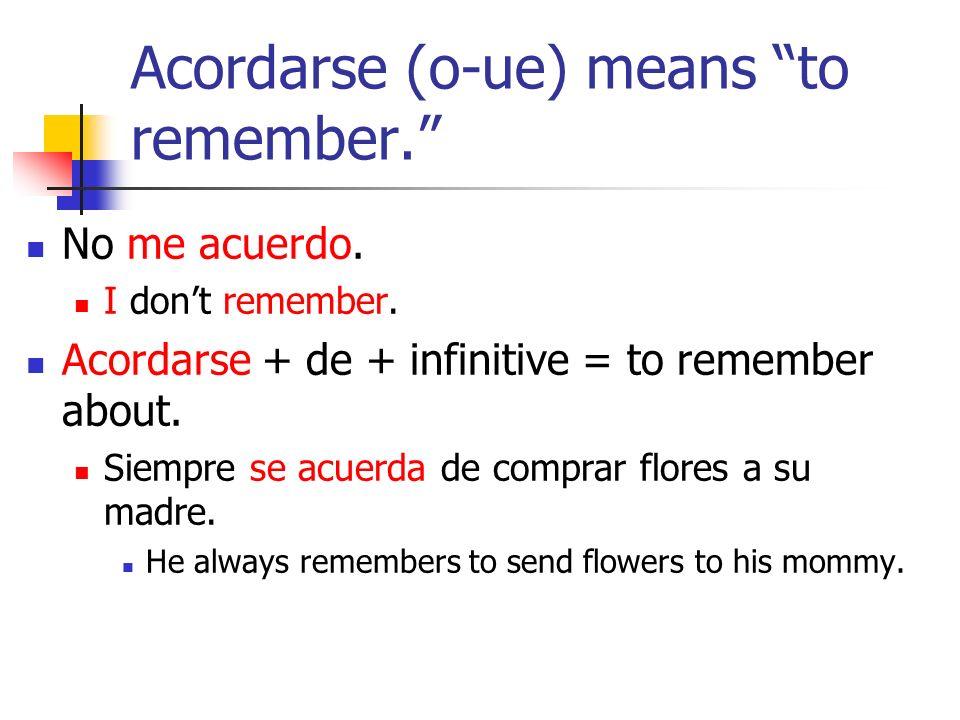 Mentir (e-ie) means to lie.Mi hijo nunca miente. My son never lies.