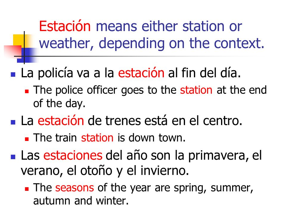 Estación means either station or weather, depending on the context.