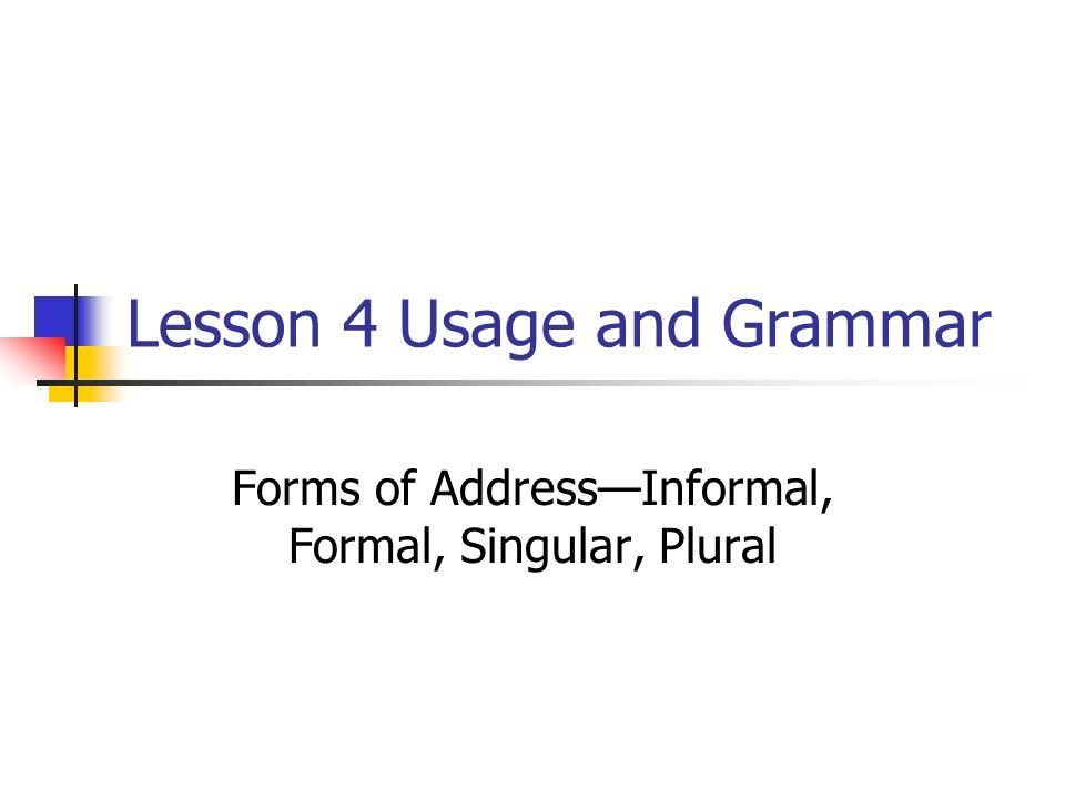 Lesson 4 Usage and Grammar Forms of AddressInformal, Formal, Singular, Plural