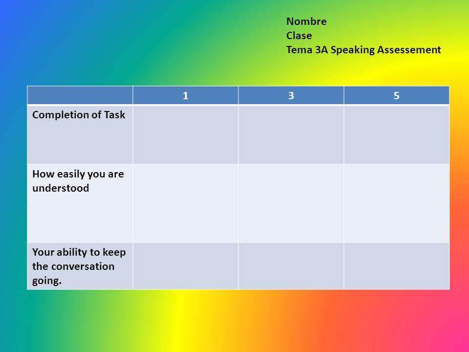 135 Completion of Task How easily you are understood Your ability to keep the conversation going. Nombre Clase Tema 3A Speaking Assessement