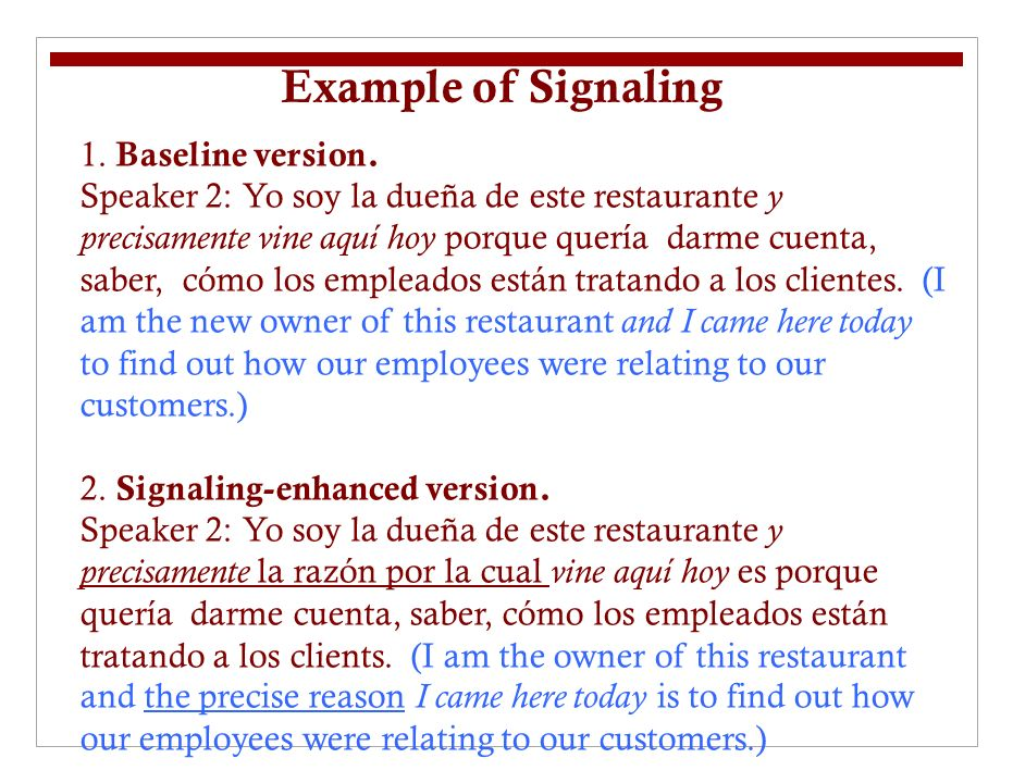 Example of Signaling 1. Baseline version.