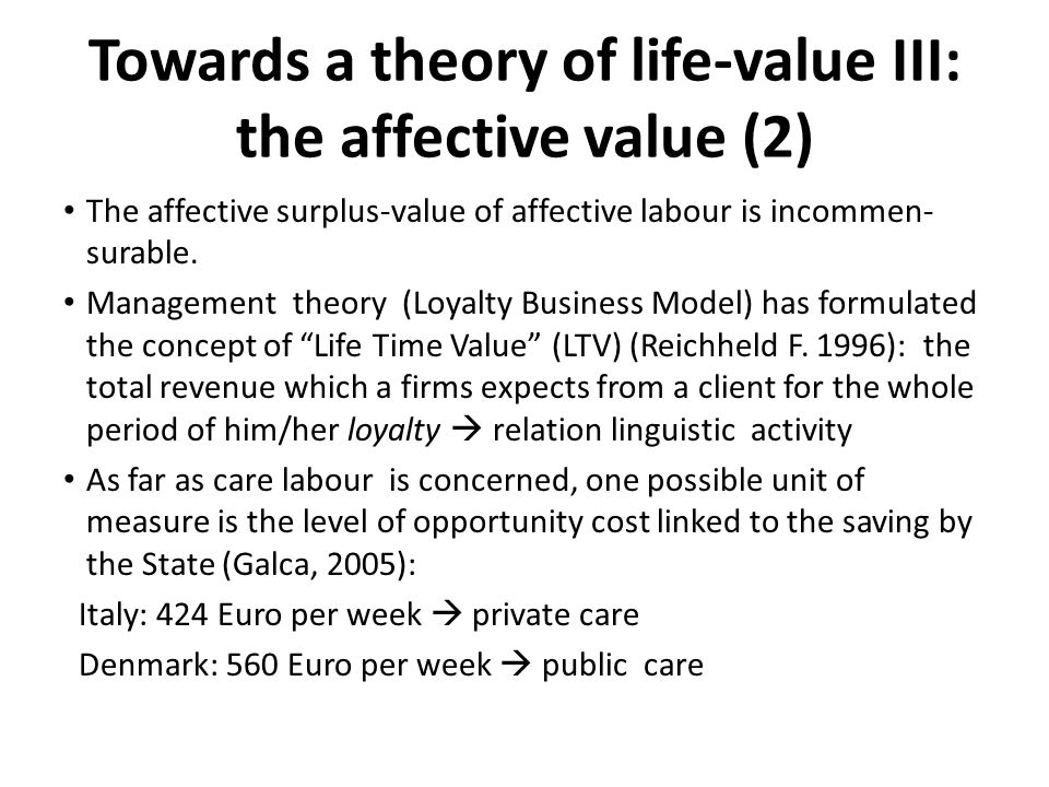Towards a theory of life-value III: the affective value (2) The affective surplus-value of affective labour is incommen- surable. Management theory (L