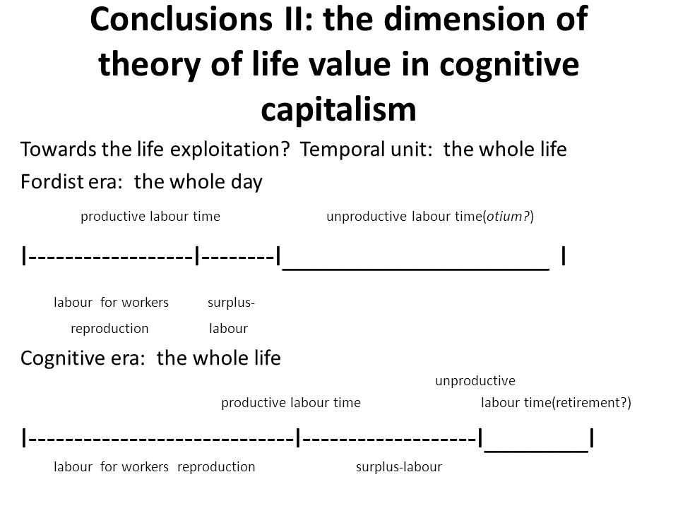 Conclusions II: the dimension of theory of life value in cognitive capitalism Towards the life exploitation? Temporal unit: the whole life Fordist era