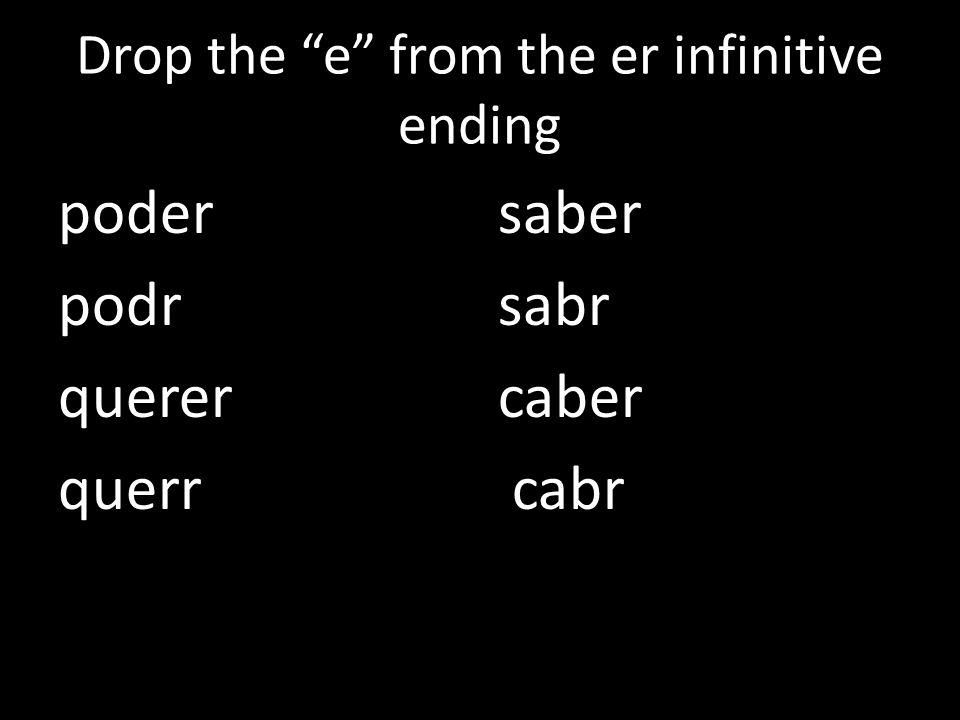 Drop the e from the er infinitive ending poder podr querer querr saber sabr caber cabr