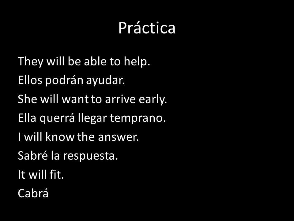 Práctica They will be able to help. Ellos podrán ayudar.