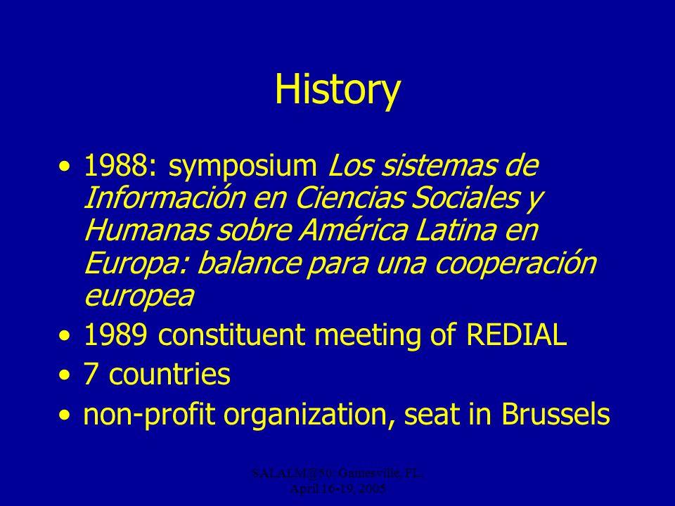 SALALM@50: Gainesville, FL, April 16-19, 2005 History 1988: symposium Los sistemas de Información en Ciencias Sociales y Humanas sobre América Latina