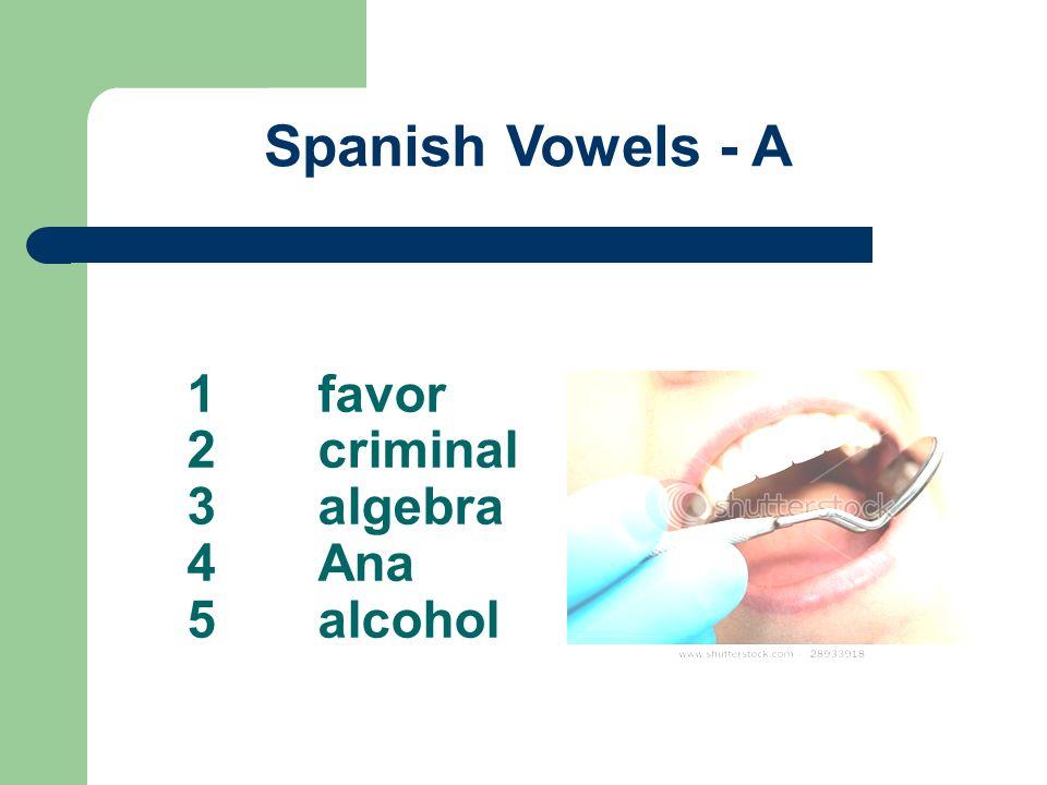 1favor 2criminal 3algebra 4Ana 5alcohol Spanish Vowels - A