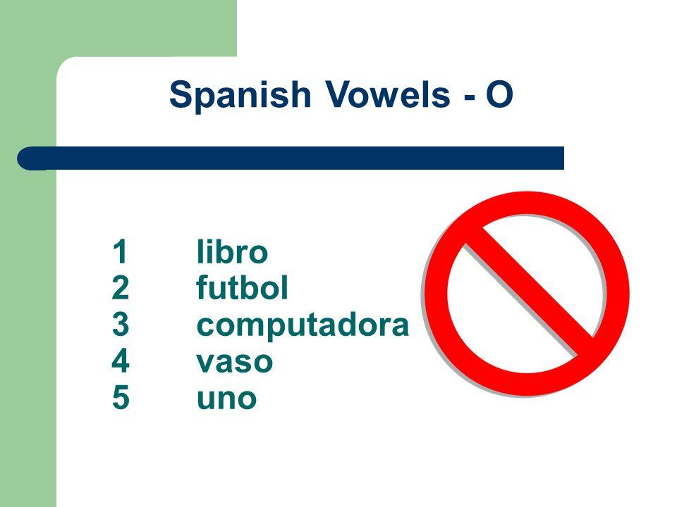 1libro 2futbol 3computadora 4vaso 5uno Spanish Vowels - O