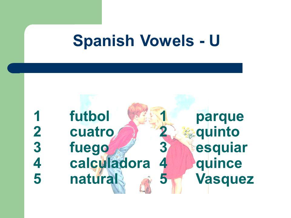 1futbol 2cuatro 3fuego 4calculadora 5natural Spanish Vowels - U 1parque 2quinto 3esquiar 4quince 5Vasquez