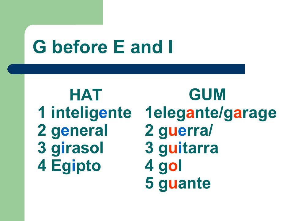 HAT 1 inteligente 2 general 3 girasol 4 Egipto GUM 1elegante/garage 2 guerra/ 3 guitarra 4 gol 5 guante G before E and I