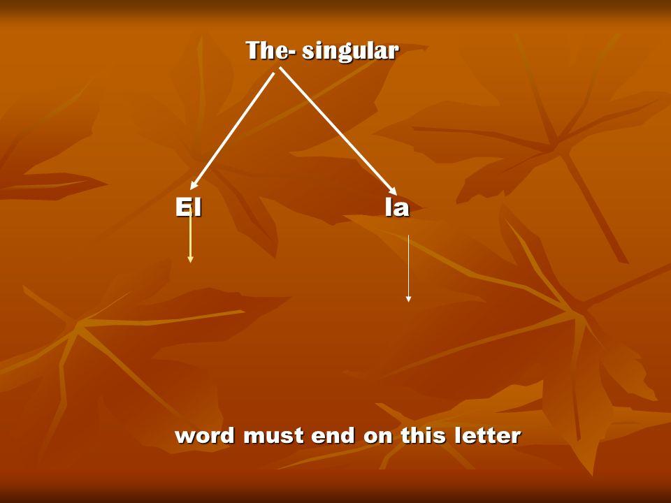 The- singular The- singular El la word must end on this letter