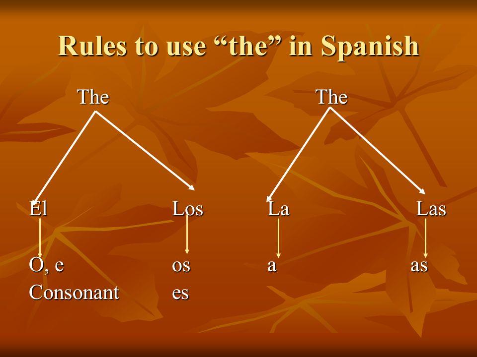 Rules to use the in Spanish TheThe El LosLa Las O, eosaas Consonant es