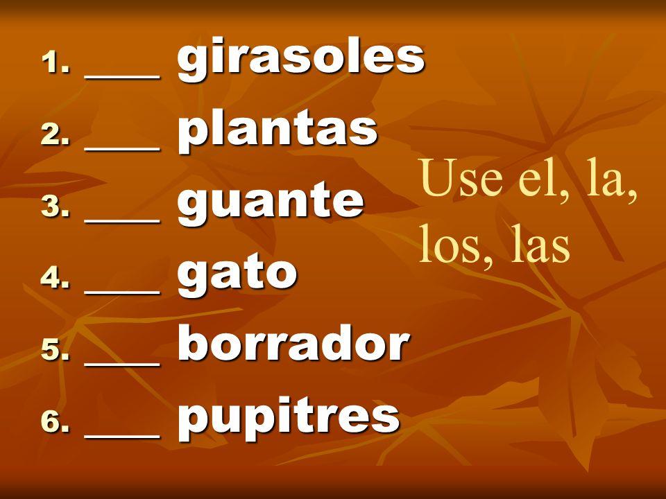 1. ___ girasoles 2. ___ plantas 3. ___ guante 4. ___ gato 5. ___ borrador 6. ___ pupitres Use el, la, los, las