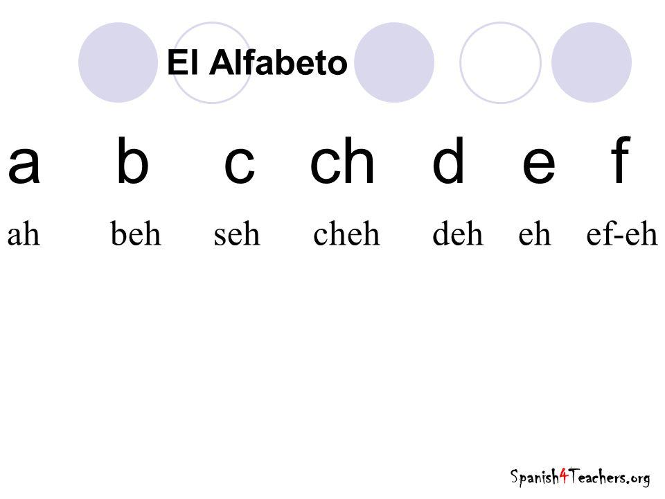 a b c ch d e f El Alfabeto ah beh seh cheh deh eh ef-eh Spanish4Teachers.org