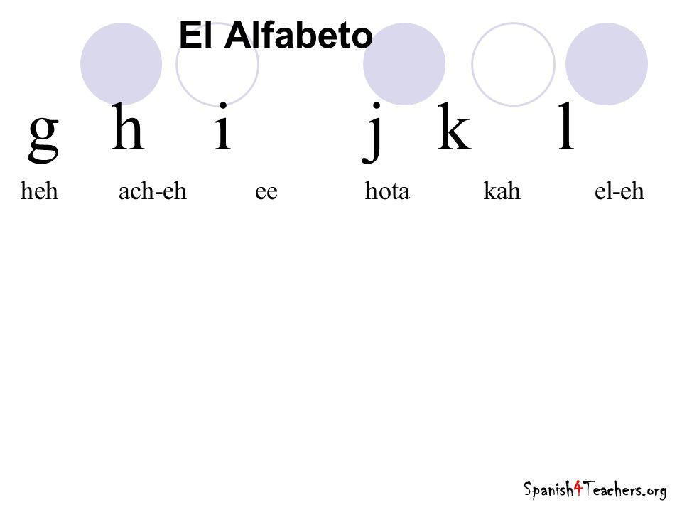 g h i j k l heh ach-eh ee hota kah el-eh El Alfabeto Spanish4Teachers.org
