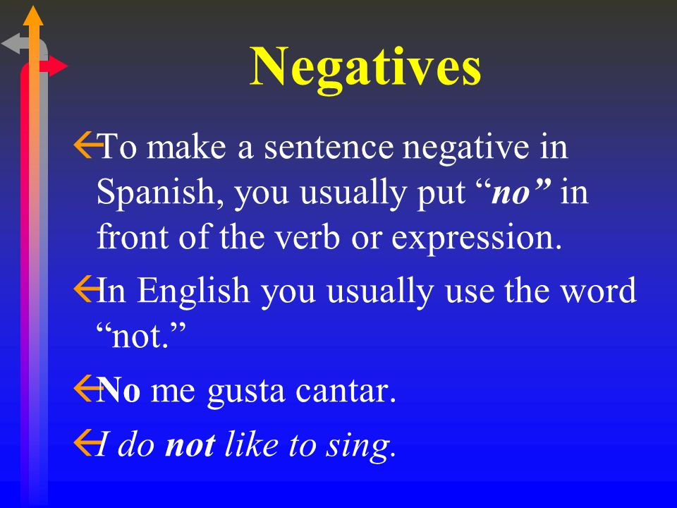 Negatives ßTo make a sentence negative in Spanish, you usually put no in front of the verb or expression. ßIn English you usually use the word not. ßN