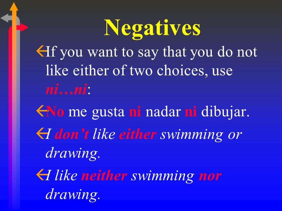 Negatives ßIf you want to say that you do not like either of two choices, use ni…ni: ßNo me gusta ni nadar ni dibujar. ßI dont like either swimming or