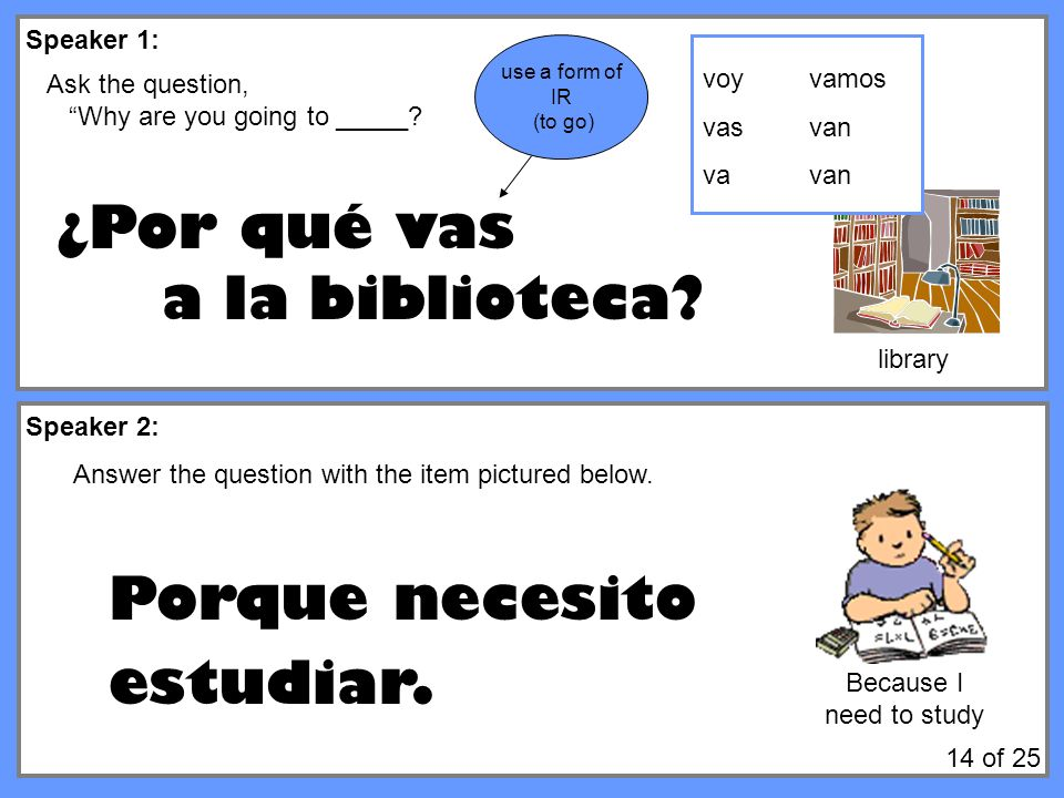 Speaker 1: Speaker 2: Ask the question, Why are you going to _____? ¿Por qué vas a la biblioteca? Answer the question with the item pictured below. Po