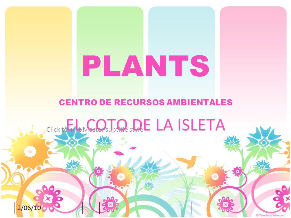 Click to edit Master subtitle style 2/06/10 PLANTS CENTRO DE RECURSOS AMBIENTALES EL COTO DE LA ISLETA