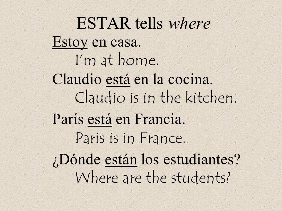ESTAR tells where Estoy en casa. Im at home. Claudio está en la cocina. Claudio is in the kitchen. París está en Francia. Paris is in France. ¿Dónde e