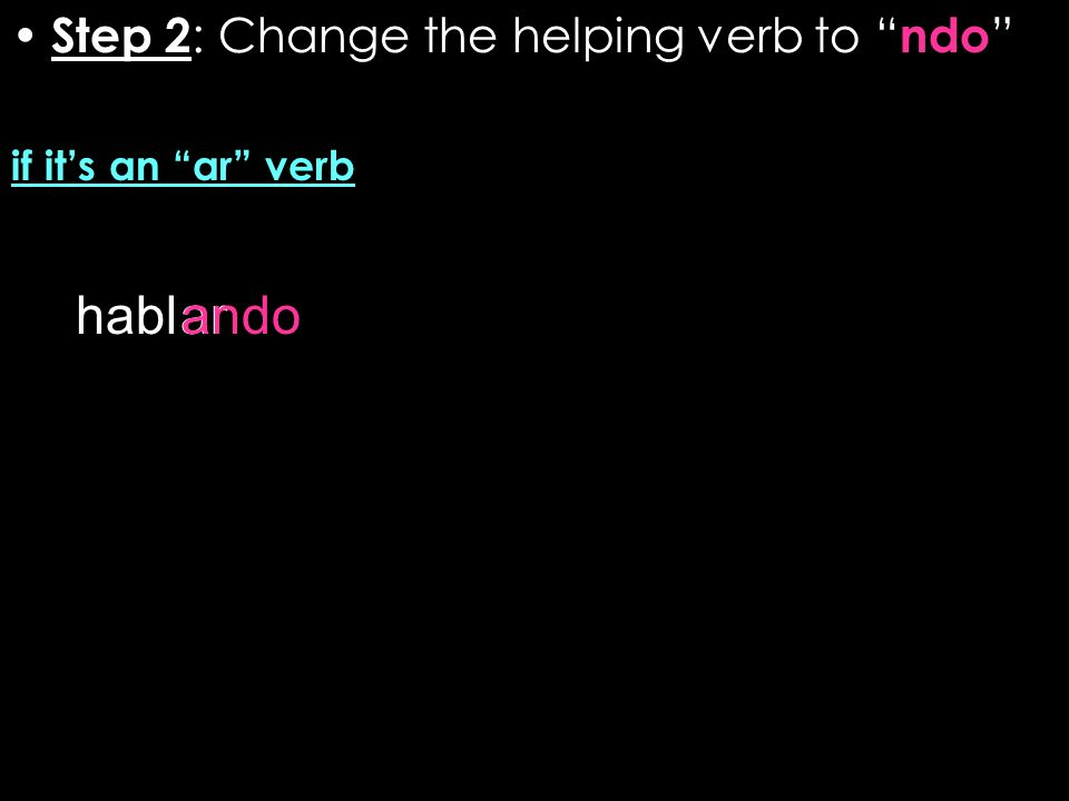 Step 2 : Change the helping verb to ndo if its an ar verb hablarando