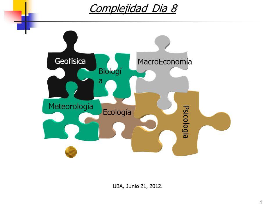 1 Complejidad Dia 8 Ecología Biologí a Psicologia Meteorología MacroEconomía Geofisica UBA, Junio 21, 2012.