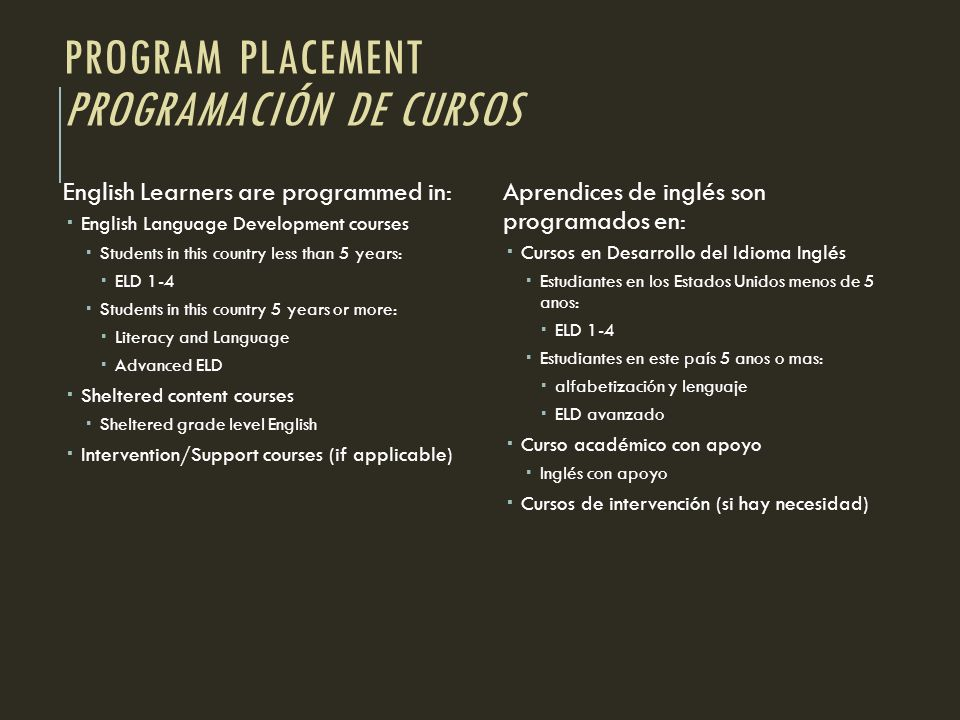 PROGRAM PLACEMENT PROGRAMACIÓN DE CURSOS English Learners are programmed in: English Language Development courses Students in this country less than 5