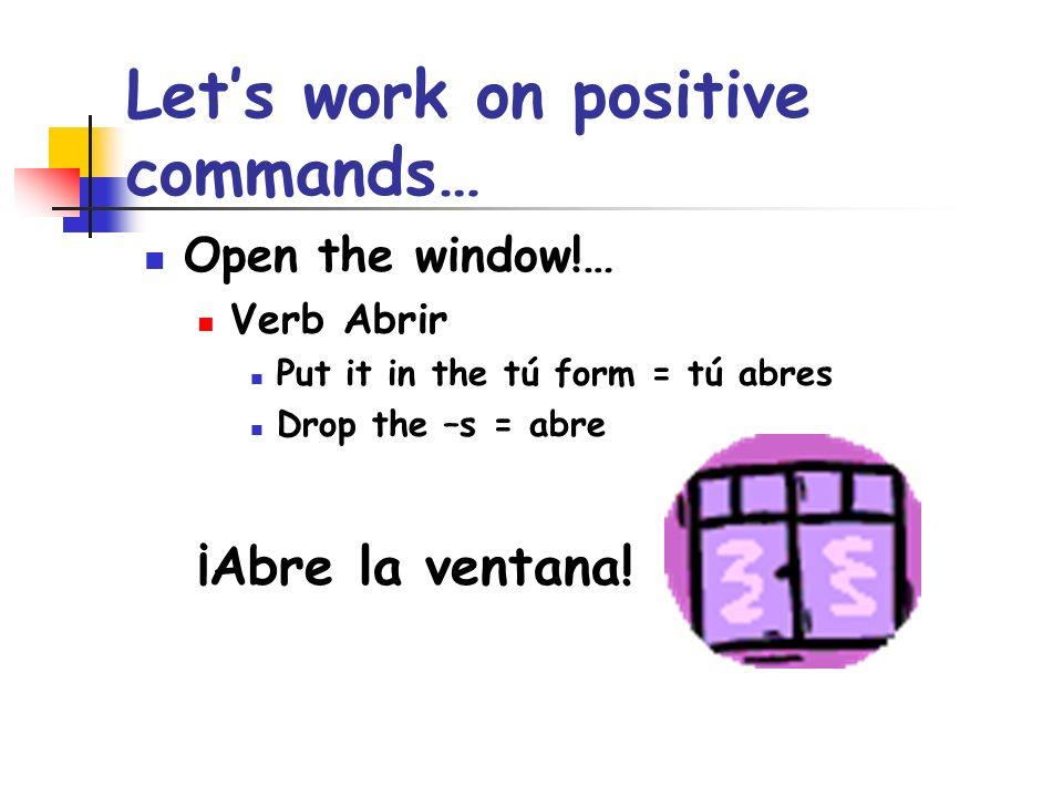 Speak now!...- Verb hablar - Put hablar in the tú form= hablas - Drop the –s = habla ¡Habla ahora.