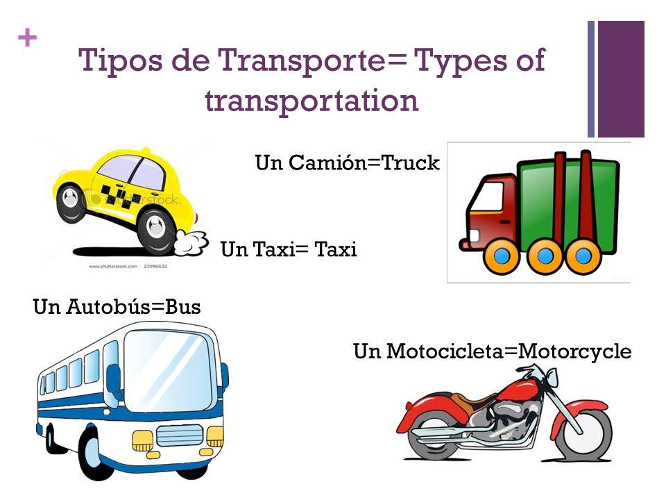 + Tipos de Transporte= Types of transportation Un Camión=Truck Un Taxi= Taxi Un Motocicleta=Motorcycle Un Autobús=Bus