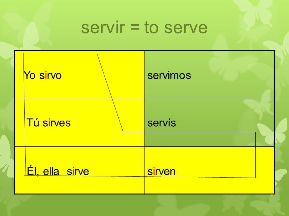 servir = to serve Yo sirvoservimos Tú sirvesservís Él, ella sirvesirven