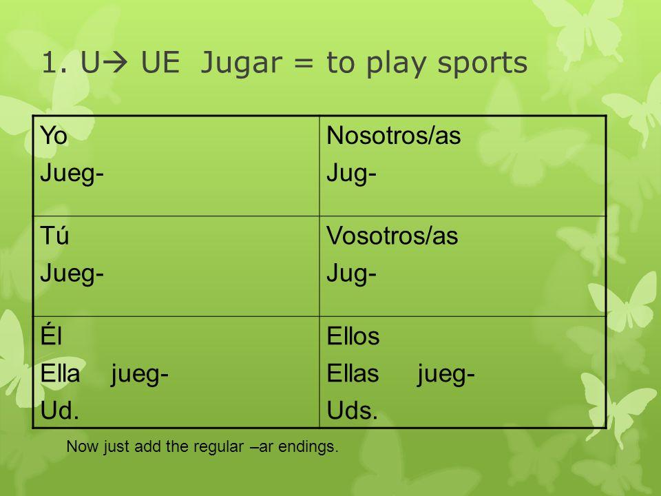 1. U UE Jugar = to play sports Yo Jueg- Nosotros/as Jug- Tú Jueg- Vosotros/as Jug- Él Ella jueg- Ud. Ellos Ellas jueg- Uds. Now just add the regular –