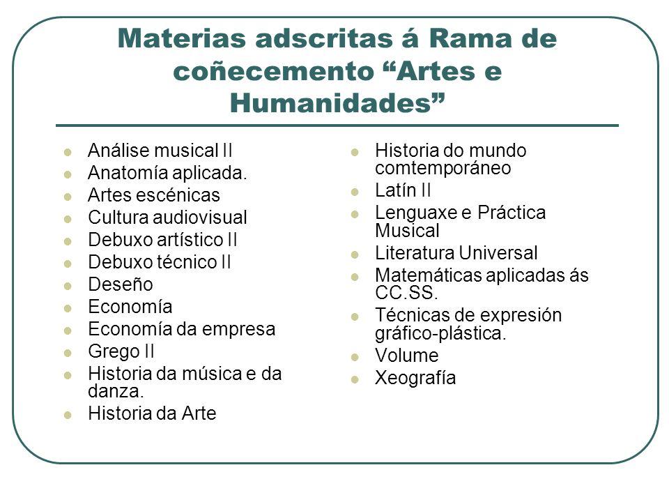 Materias adscritas á Rama de coñecemento Artes e Humanidades Análise musical II Anatomía aplicada.