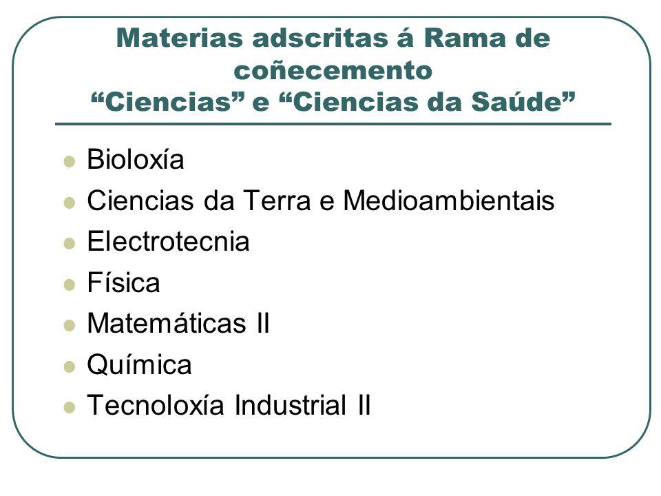 Materias adscritas á Rama de coñecemento Ciencias e Ciencias da Saúde Bioloxía Ciencias da Terra e Medioambientais Electrotecnia Física Matemáticas II Química Tecnoloxía Industrial II