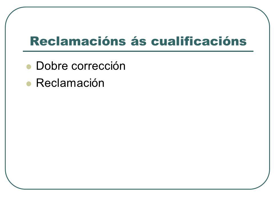 Reclamacións ás cualificacións Dobre corrección Reclamación