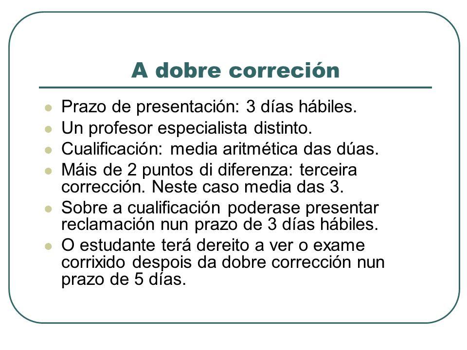 A dobre correción Prazo de presentación: 3 días hábiles.