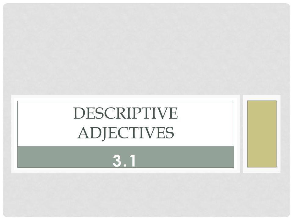 3.1 DESCRIPTIVE ADJECTIVES