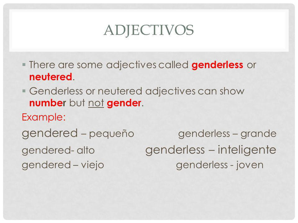 ADJECTIVOS There are some adjectives called genderless or neutered. Genderless or neutered adjectives can show number but not gender. Example: gendere