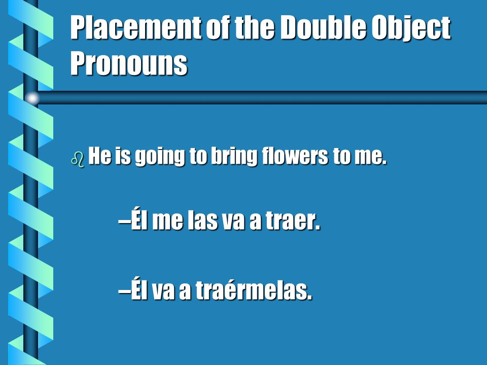 The Third Person Object Pronouns b When both the indirect and direct object pronouns are in the third person singular or plural, the indirect object pronoun still precedes the direct object pronoun, but it is written as se rather than le or les.