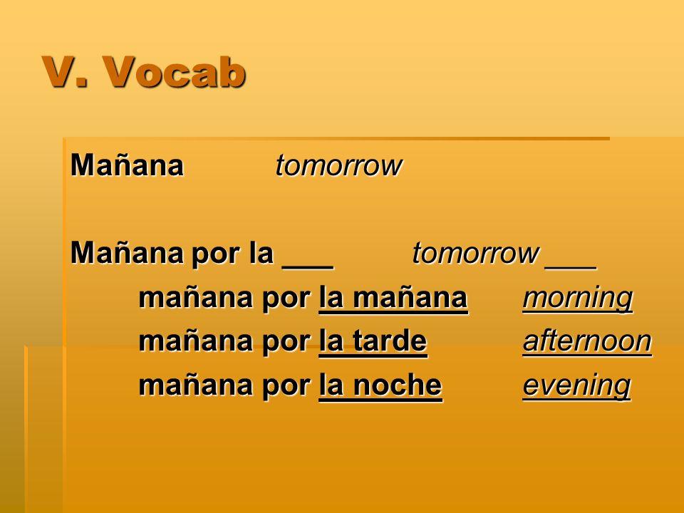 V. Vocab Mañana tomorrow Mañana por la ___tomorrow ___ mañana por la mañana morning mañana por la tarde afternoon mañana por la noche evening