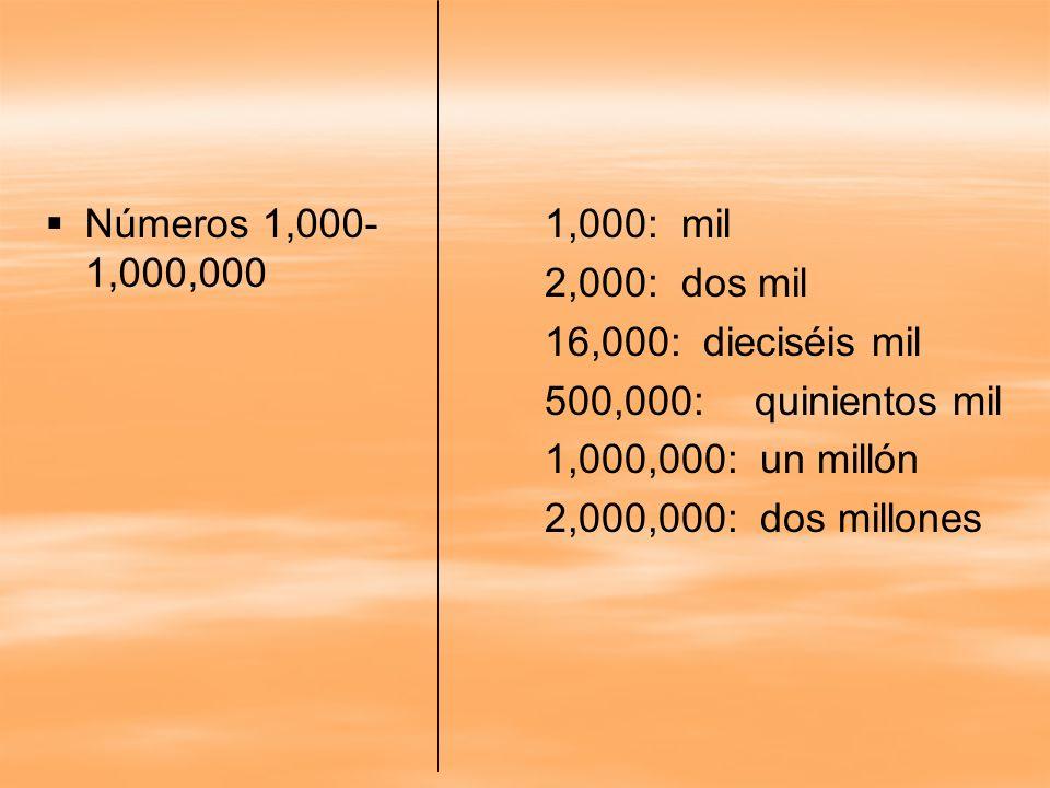 Números 1,000- 1,000,000 1,000: mil 2,000: dos mil 16,000: dieciséis mil 500,000:quinientos mil 1,000,000: un millón 2,000,000: dos millones
