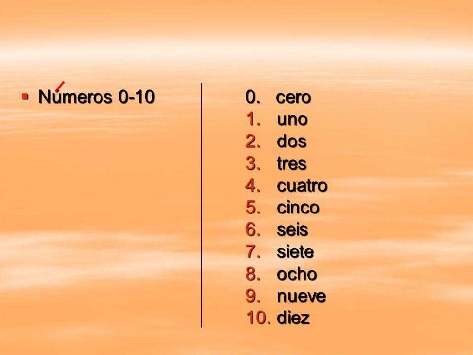 Números 0-10 Números 0-10 0. cero 1.uno 2.dos 3.tres 4.cuatro 5.cinco 6.seis 7.siete 8.ocho 9.nueve 10.diez