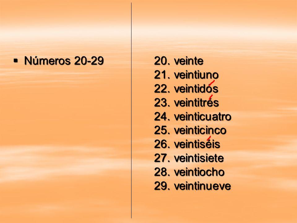Números 20-29 Números 20-29 20.veinte 21.veintiuno 22.veintidós 23.veintitrés 24.veinticuatro 25.veinticinco 26.veintiséis 27.veintisiete 28.veintioch