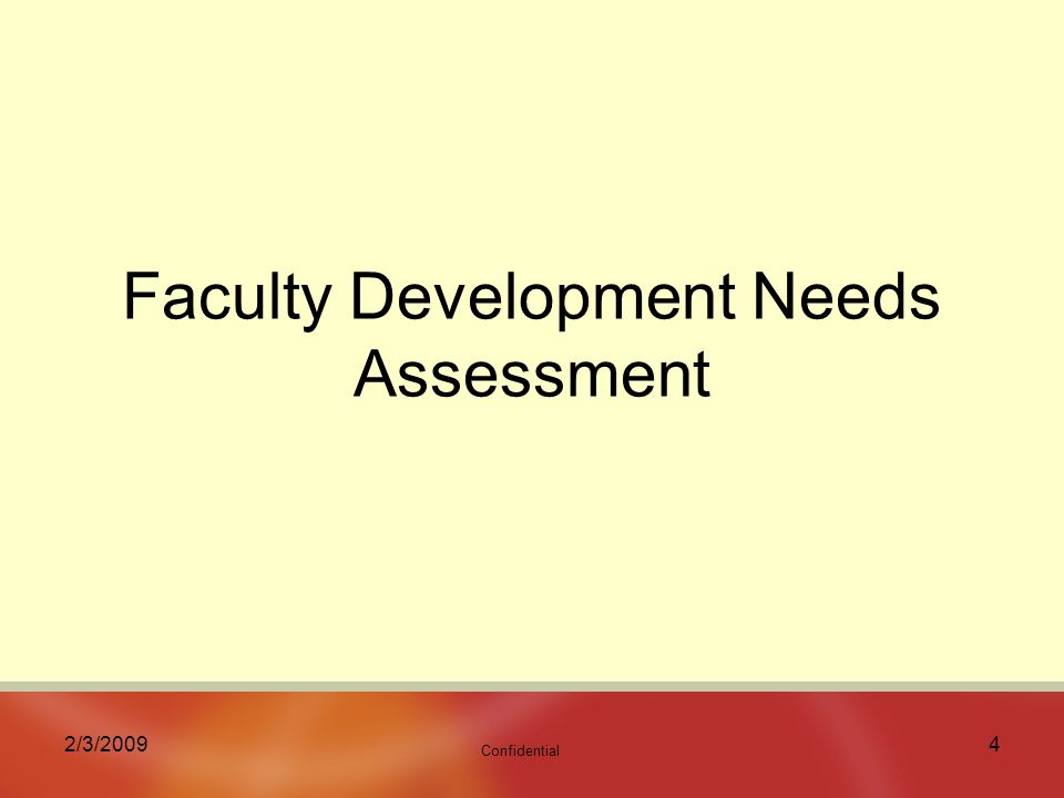 Confidential 2/3/20094 Faculty Development Needs Assessment