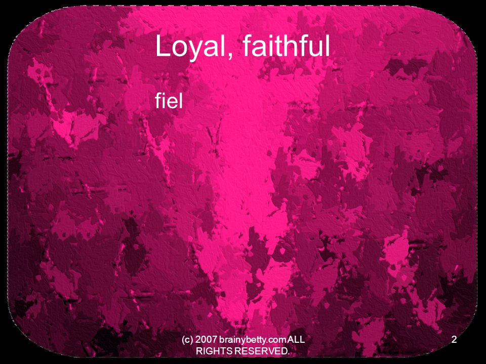 Loyal, faithful fiel (c) 2007 brainybetty.com ALL RIGHTS RESERVED. 2