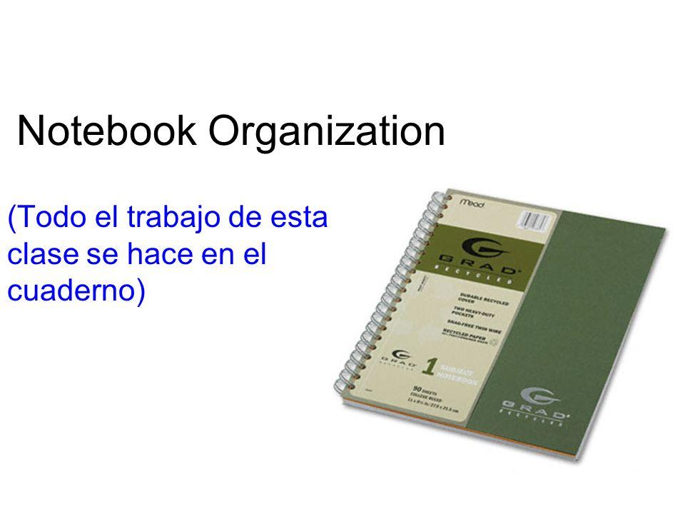 Notebook Organization (Todo el trabajo de esta clase se hace en el cuaderno)